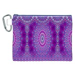 India Ornaments Mandala Pillar Blue Violet Canvas Cosmetic Bag (XXL) Front