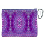 India Ornaments Mandala Pillar Blue Violet Canvas Cosmetic Bag (XXL) Back