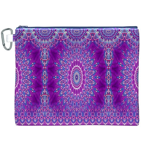 India Ornaments Mandala Pillar Blue Violet Canvas Cosmetic Bag (XXXL)