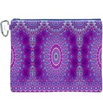 India Ornaments Mandala Pillar Blue Violet Canvas Cosmetic Bag (XXXL) Front