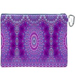 India Ornaments Mandala Pillar Blue Violet Canvas Cosmetic Bag (XXXL) Back