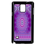 India Ornaments Mandala Pillar Blue Violet Samsung Galaxy Note 4 Case (Black) Front