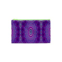 India Ornaments Mandala Pillar Blue Violet Cosmetic Bag (XS)