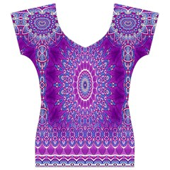 India Ornaments Mandala Pillar Blue Violet Women s V-Neck Cap Sleeve Top