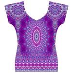 India Ornaments Mandala Pillar Blue Violet Women s V-Neck Cap Sleeve Top Front