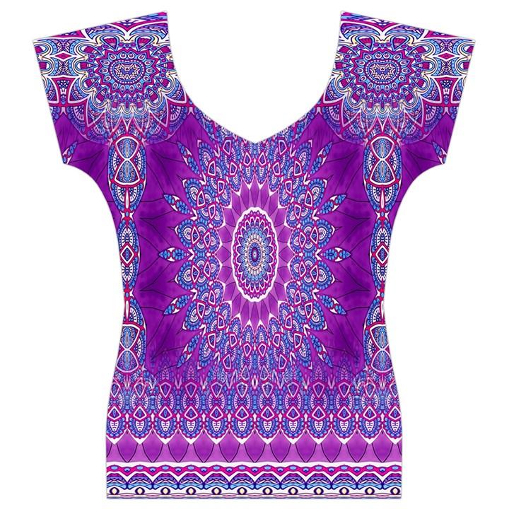 India Ornaments Mandala Pillar Blue Violet Women s V-Neck Cap Sleeve Top