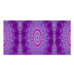 India Ornaments Mandala Pillar Blue Violet Satin Shawl Front