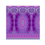 India Ornaments Mandala Pillar Blue Violet Small Satin Scarf (Square) Front