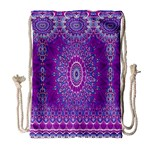 India Ornaments Mandala Pillar Blue Violet Drawstring Bag (Large) Front