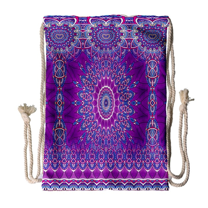 India Ornaments Mandala Pillar Blue Violet Drawstring Bag (Large)