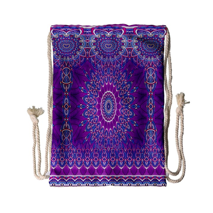 India Ornaments Mandala Pillar Blue Violet Drawstring Bag (Small)