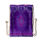 India Ornaments Mandala Pillar Blue Violet Drawstring Bag (Small) Back