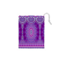 India Ornaments Mandala Pillar Blue Violet Drawstring Pouches (XS)