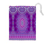 India Ornaments Mandala Pillar Blue Violet Drawstring Pouches (Extra Large) Front