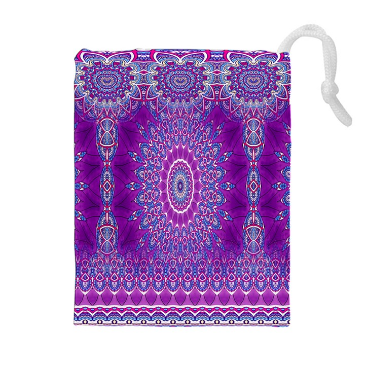 India Ornaments Mandala Pillar Blue Violet Drawstring Pouches (Extra Large)