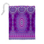 India Ornaments Mandala Pillar Blue Violet Drawstring Pouches (Extra Large) Back