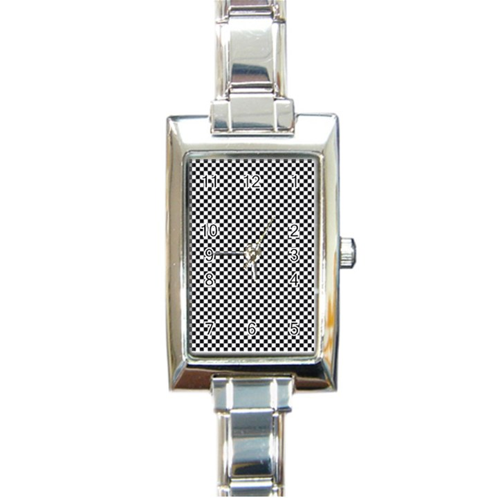 Sports Racing Chess Squares Black White Rectangle Italian Charm Watch