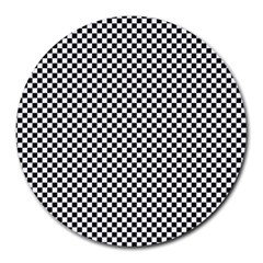 Sports Racing Chess Squares Black White Round Mousepads
