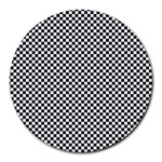 Sports Racing Chess Squares Black White Round Mousepads Front