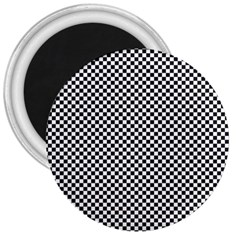 Sports Racing Chess Squares Black White 3  Magnets
