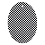 Sports Racing Chess Squares Black White Ornament (Oval)  Front