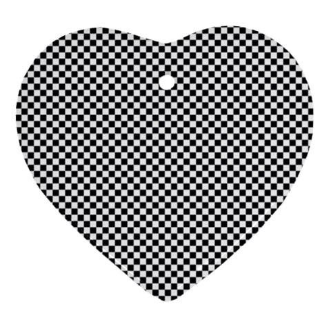 Sports Racing Chess Squares Black White Ornament (Heart)