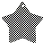 Sports Racing Chess Squares Black White Ornament (Star)  Front