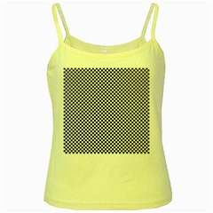 Sports Racing Chess Squares Black White Yellow Spaghetti Tank