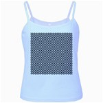 Sports Racing Chess Squares Black White Baby Blue Spaghetti Tank Front