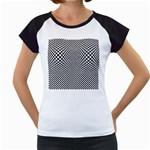 Sports Racing Chess Squares Black White Women s Cap Sleeve T Front