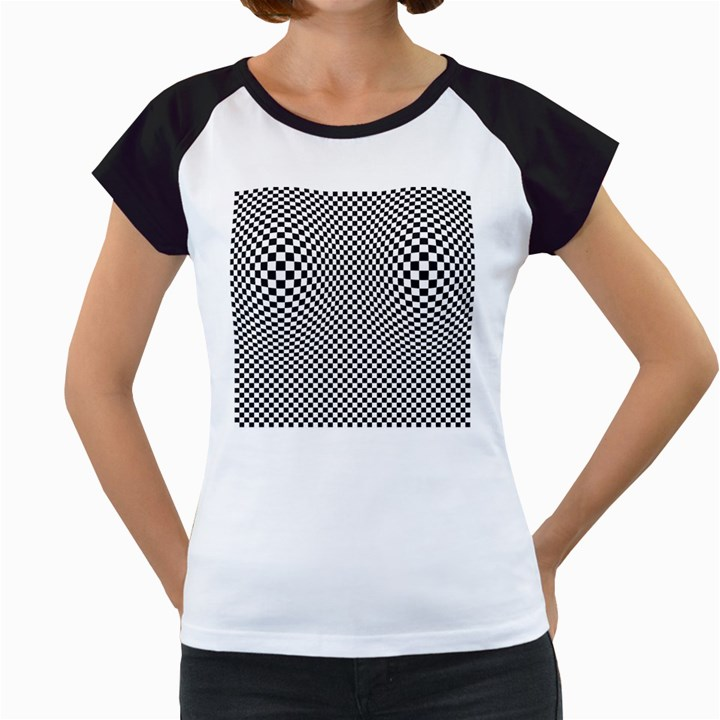 Sports Racing Chess Squares Black White Women s Cap Sleeve T