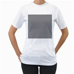 Sports Racing Chess Squares Black White Women s T-Shirt (White) (Two Sided) Front