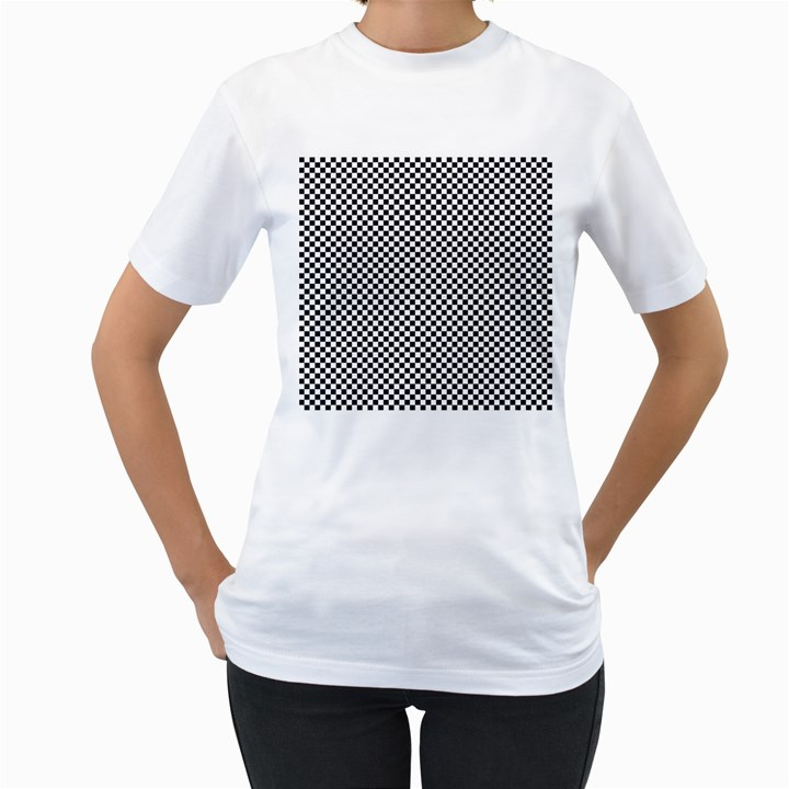 Sports Racing Chess Squares Black White Women s T-Shirt (White) (Two Sided)