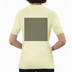 Sports Racing Chess Squares Black White Women s Yellow T-Shirt Back