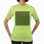 Sports Racing Chess Squares Black White Women s Green T-Shirt Front