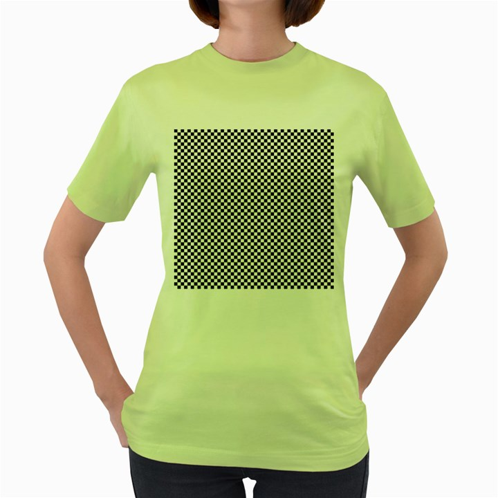Sports Racing Chess Squares Black White Women s Green T-Shirt