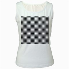 Sports Racing Chess Squares Black White Women s White Tank Top