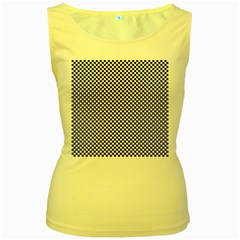 Sports Racing Chess Squares Black White Women s Yellow Tank Top