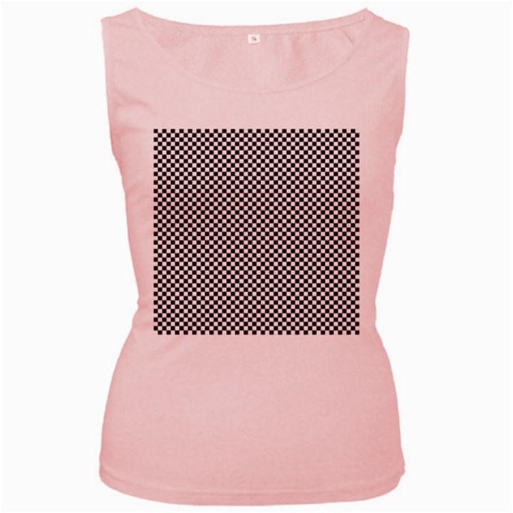 Sports Racing Chess Squares Black White Women s Pink Tank Top