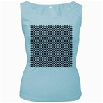 Sports Racing Chess Squares Black White Women s Baby Blue Tank Top Front
