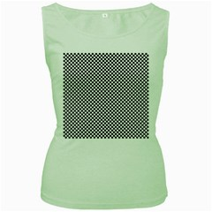 Sports Racing Chess Squares Black White Women s Green Tank Top