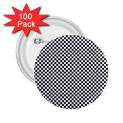 Sports Racing Chess Squares Black White 2.25  Buttons (100 pack)
