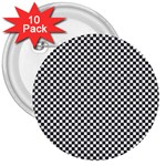 Sports Racing Chess Squares Black White 3  Buttons (10 pack)  Front