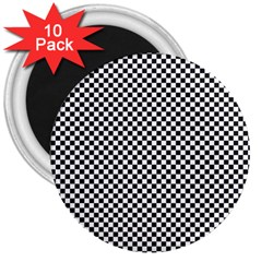 Sports Racing Chess Squares Black White 3  Magnets (10 pack)