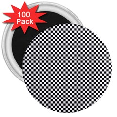 Sports Racing Chess Squares Black White 3  Magnets (100 pack)