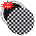 Sports Racing Chess Squares Black White 3  Magnets (100 pack) Front