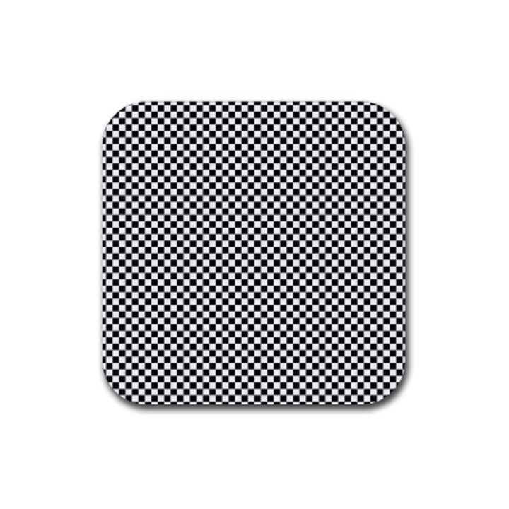 Sports Racing Chess Squares Black White Rubber Coaster (Square)