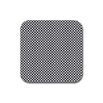 Sports Racing Chess Squares Black White Rubber Square Coaster (4 pack)  Front