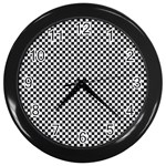 Sports Racing Chess Squares Black White Wall Clocks (Black) Front