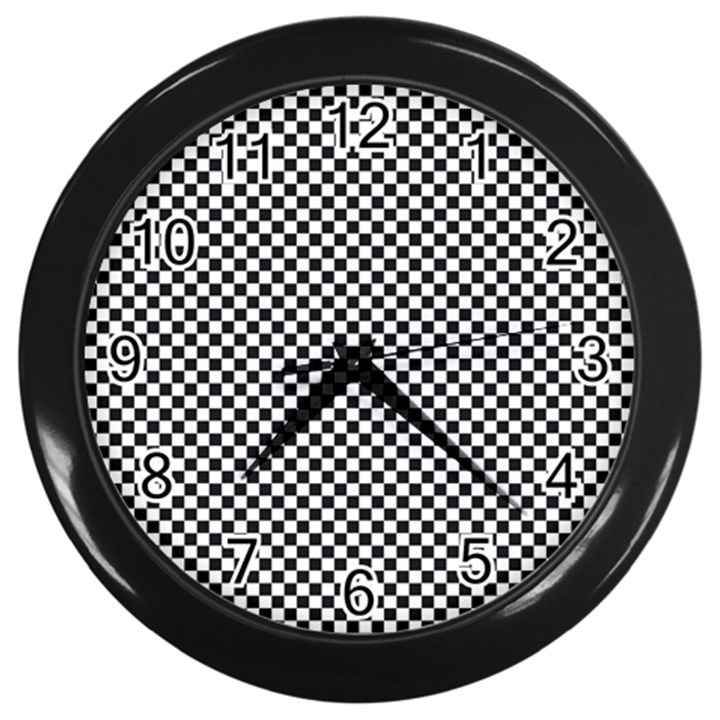 Sports Racing Chess Squares Black White Wall Clocks (Black)
